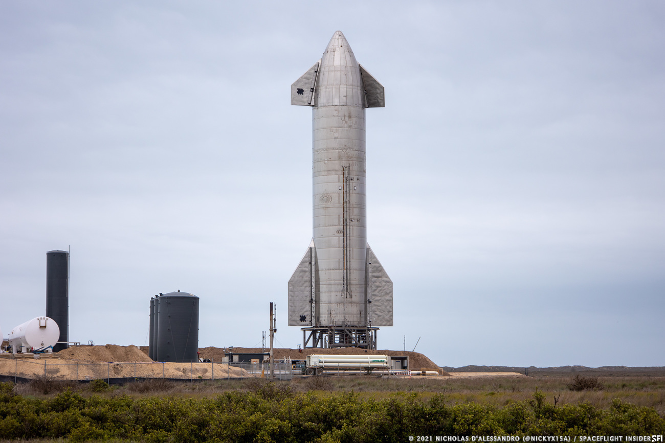 Starship SN11 stands ready for a high-altitude flight test. An attempt was called off March 29 because and FAA inspector was not able to get to Boca Chica in time for the test. Credit: Nicholas D'Alessandro / Spaceflight Insider