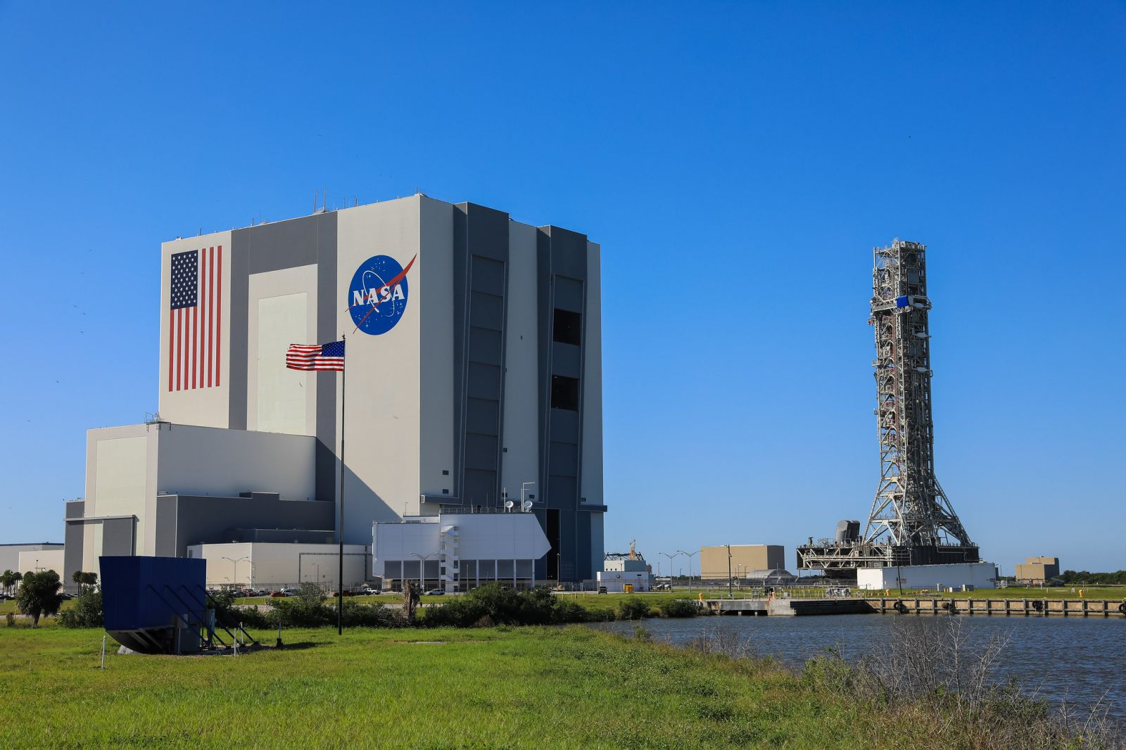 NASAs Mobile Launcher seen outside the Vehicle Assembly Building before booster stacking began. Credit: NASA