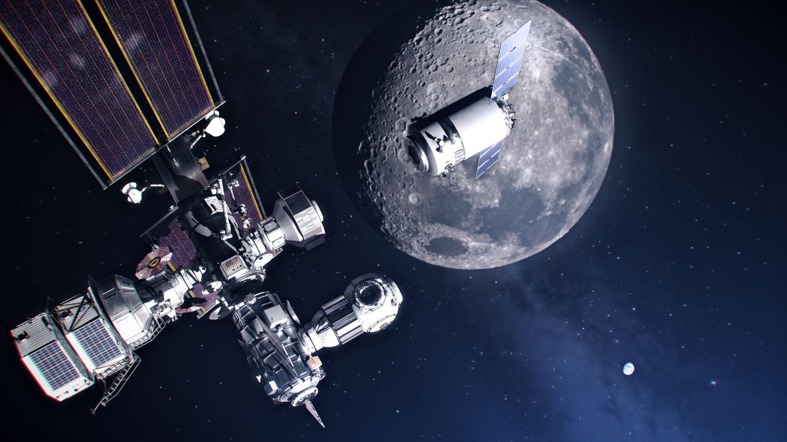 An illustration of a Dragon XL spacecraft approaching an evolved Lunar Gateway outpost around the Moon. Credit: NASA