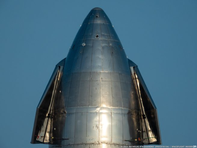 Starship SN10 nose details. Credit: Nicholas D'Alessandro / Spaceflight Insider