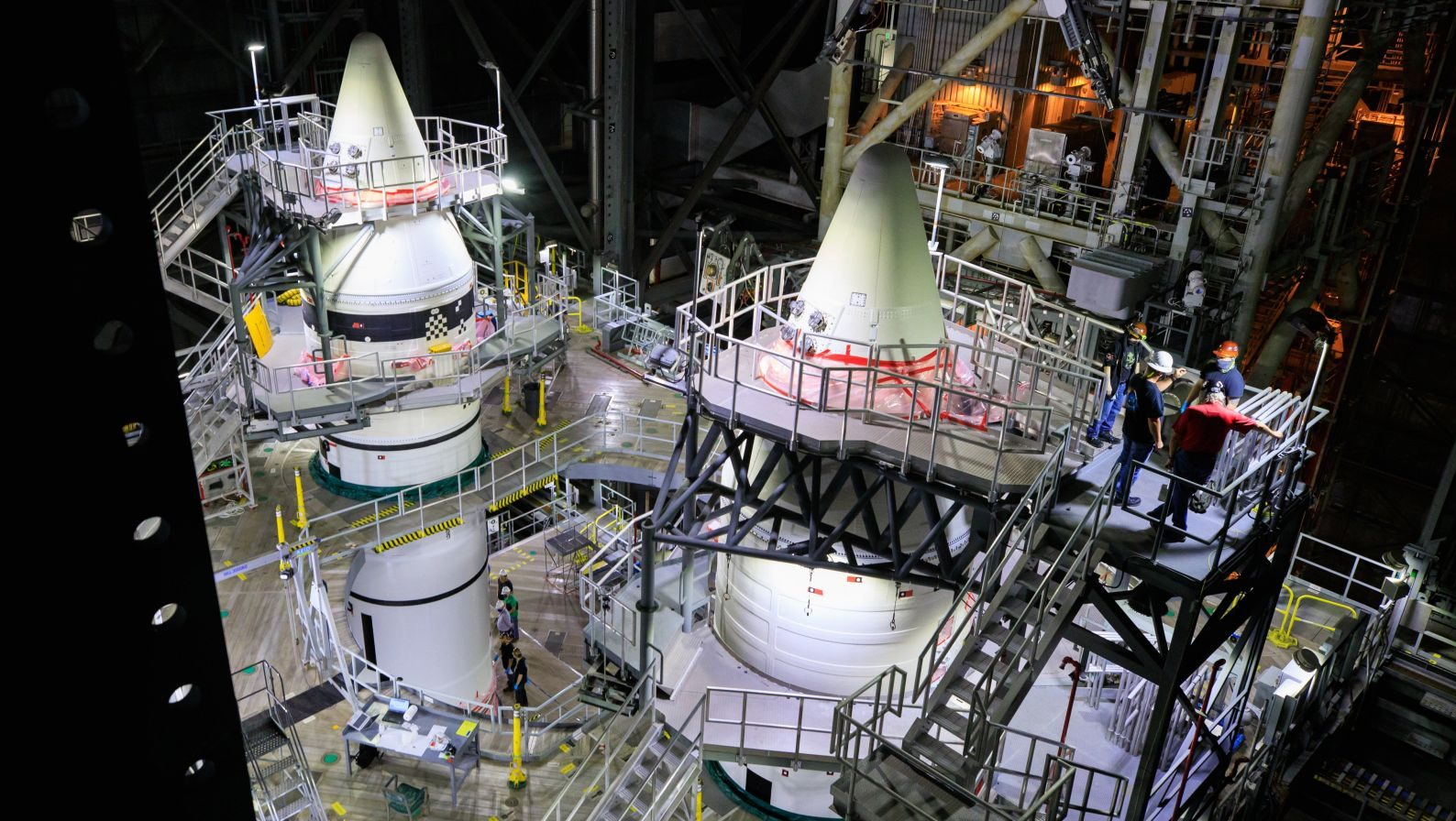 NASA finishes stacking the twin solid rocket boosters that will provide the bulk of the thrust for the Space Launch System during its first two minutes of flight. Credit: NASA
