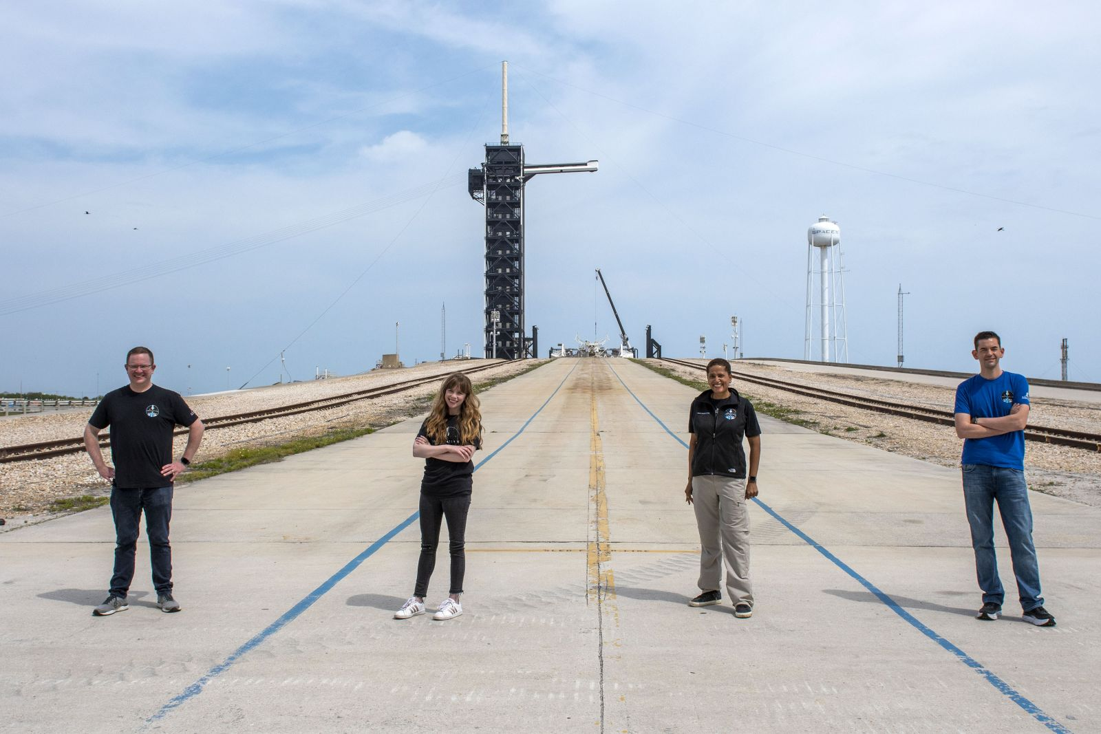 The Inspiration4 crew. From left to right: Chris Sembroski, Hayley Arceneaux, Sian Proctor and Jared Isaacman. Credit: SpaceX