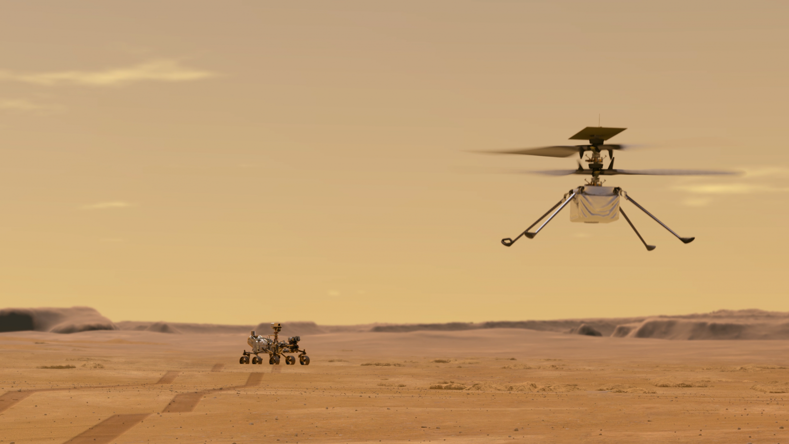 An illustration of the Ingenuity helicopter flying on Mars. Credit: NASA