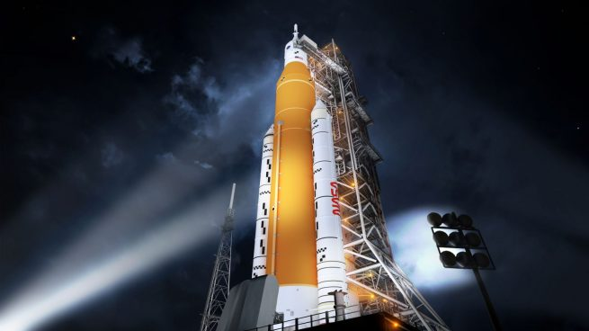 The Block 1 SLS rocket rendered by an artist has dual solid rocket boosters on its launch pad. Image source: NASA
