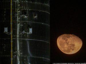 Starship SN10's flight termination system seen on Starship with the rising moon. Credit: Nicholas D'Alessandro / Spaceflight Insider