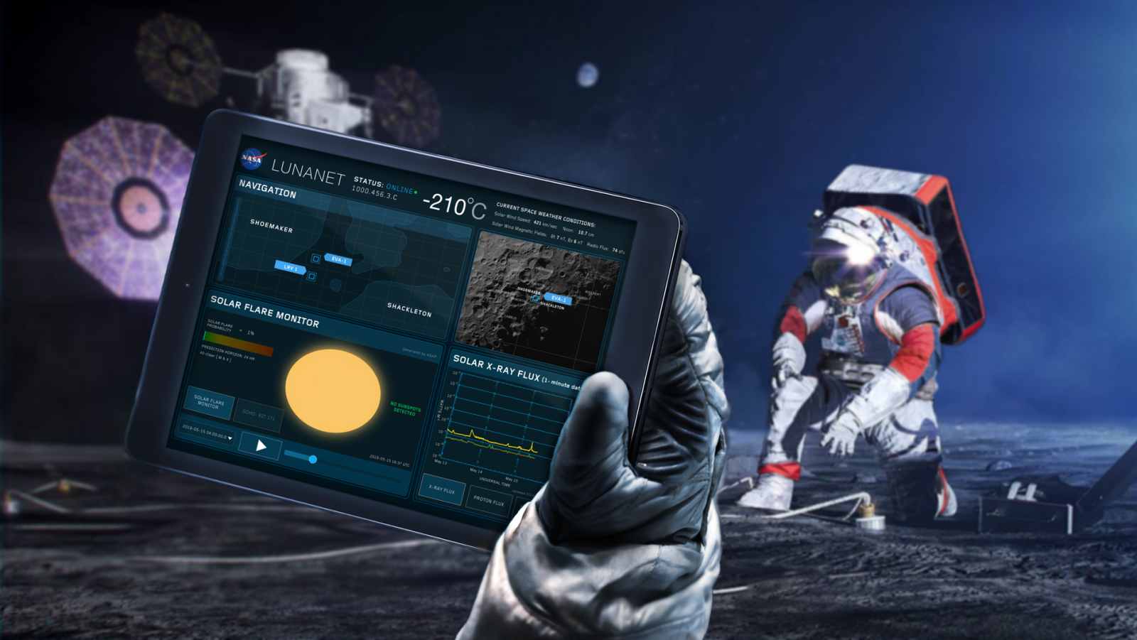 An rendering of an astronaut on the Moon accessing the LunaNet network. Credit: NASA
