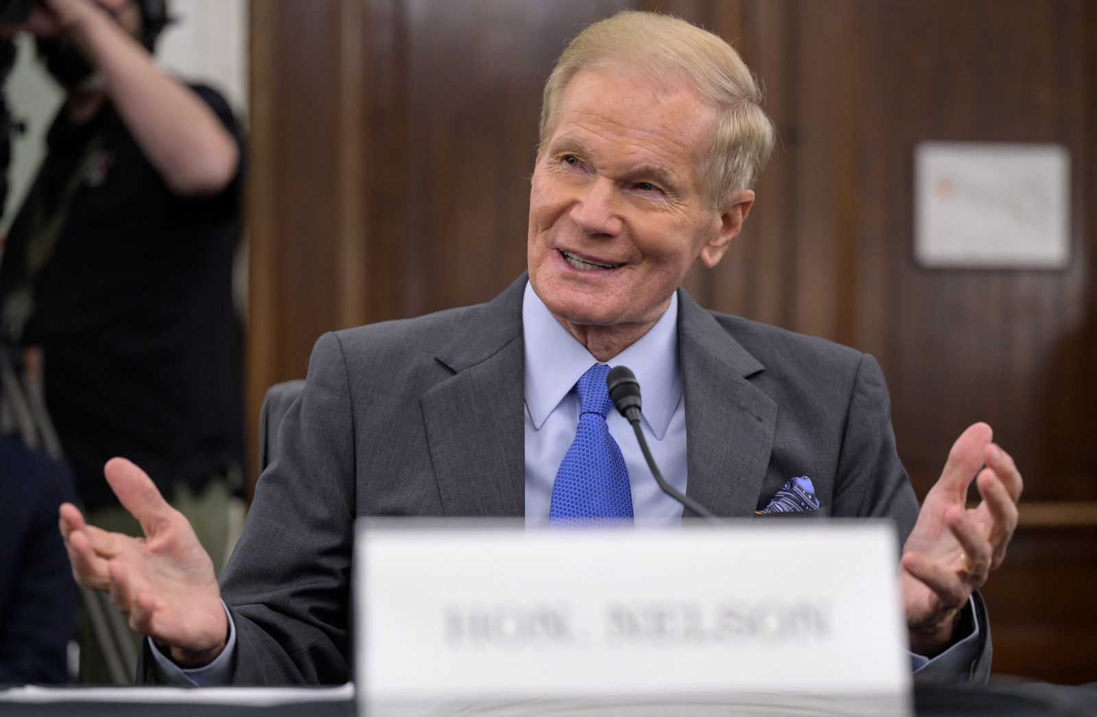 Former U.S. Senator Bill Nelson appears before the Senate Committee on Commerce, Science, and Transportation April 21, 2021, in the Russell Senate Office Building in Washington. Photo and Caption Credit: NASA/Bill Ingalls