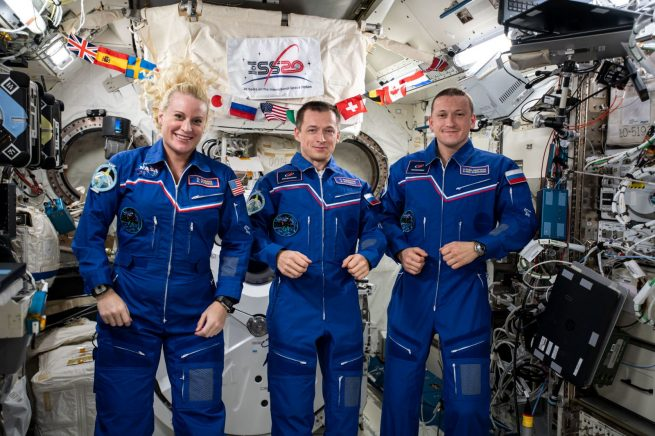 NASA astronaut Kate Rubins, left, and Russian cosmonauts Sergey Ryzhikov, center, and Sergey Kud-Sverchkov returned to Earth April 17, 2021. Credit: NASA