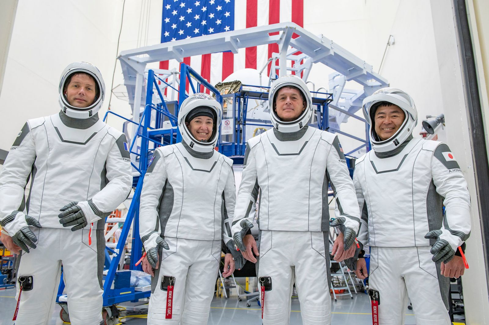 The Crew-2 astronauts seen in front of Crew Dragon Endeavour. From left to right: ESA astronaut Thomas Pesquet, NASA astronauts Megan McArthur and Shane Kimbrough, and Japanese astronaut Akihiko Hoshide. Credit: SpaceX