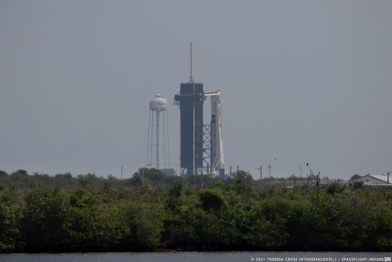 The Falcon 9 with the Crew-2 Dragon, Endeavour, on Launch Complex 39A. Credit: Theresa Cross / Spaceflight Insider