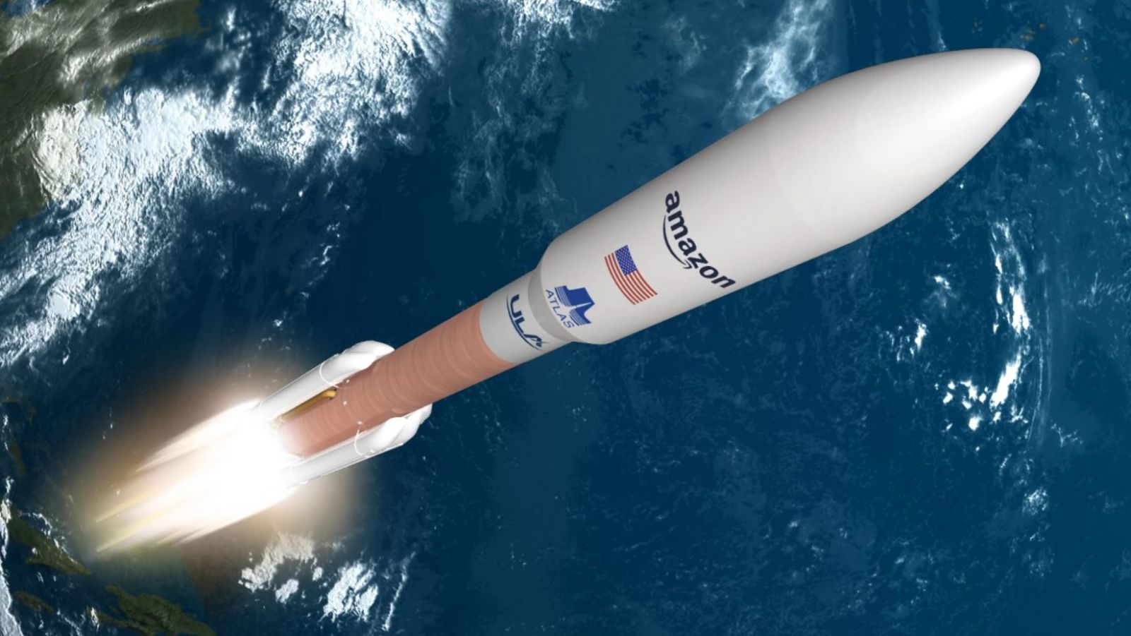 A rendering of an Atlas V rocket with Amazon's logo on the payload fairing. Credit: Amazon