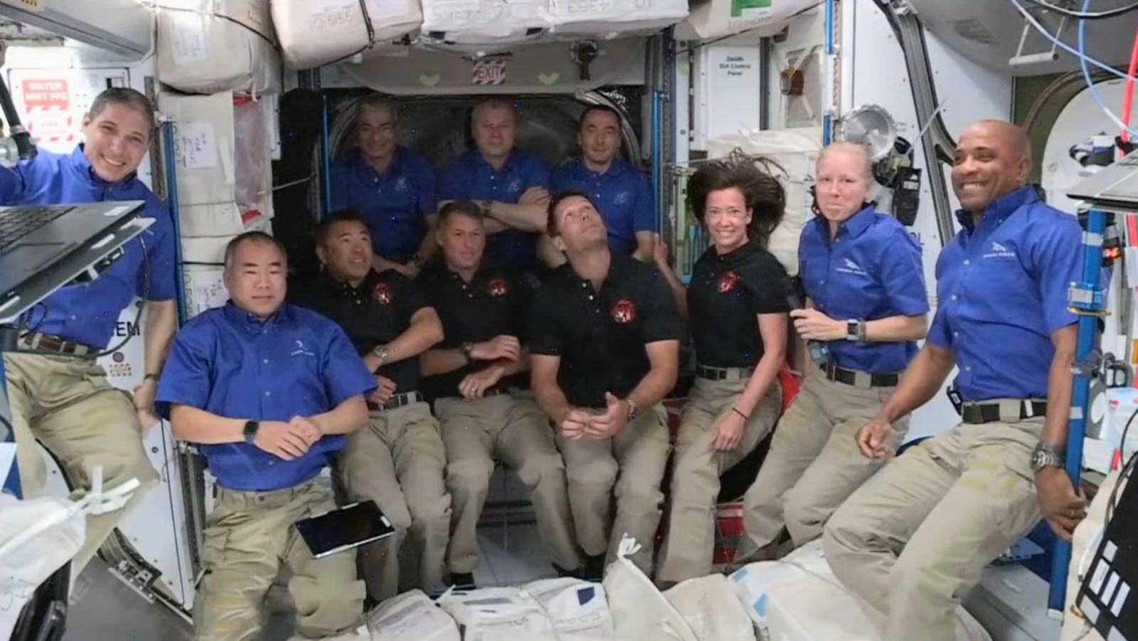 Following the arrival of the Crew-2 Dragon astronauts, seen in black shirts, the International Space Station's population temporarily increased to 11. Credit: NASA