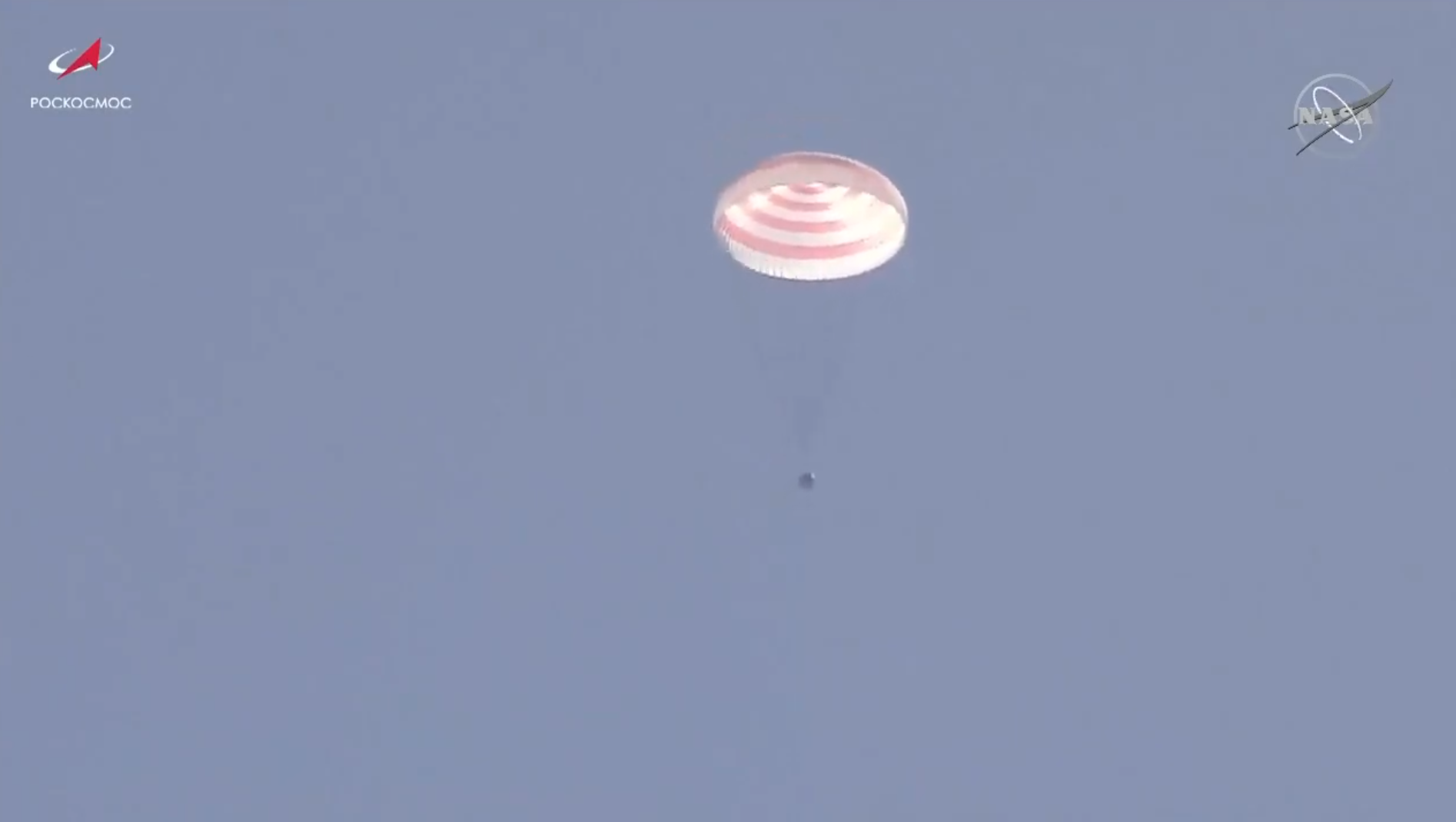 Soyuz MS-17 and its three crew members descend under a parachute toward the Kazakh Steppe in Kazakhstan. Credit: NASA