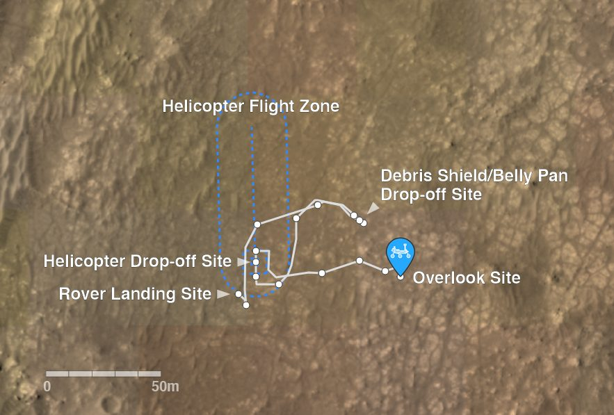The drive path Perseverance has taken since landing in February. The image also shows Ingenuity's drop-off site and its flight zone. Credit: NASA