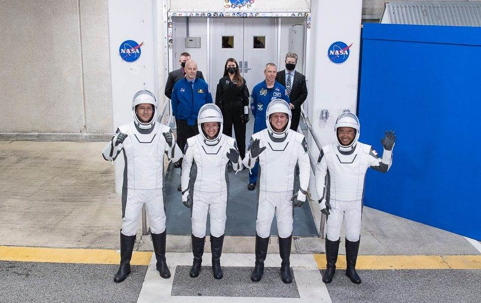 The Crew-2 astronauts moments after they left the Neil Armstrong Operations and Checkout Building to begin their trek to the launch pad. From left to right: Thomas Pesquet, Megan McArthur, Shane Kimbrough and Akihiko Hoshide. Credit: NASA