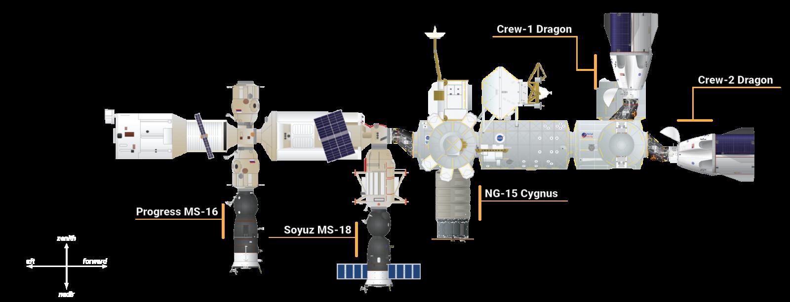 The vehicles docked to the International Space Station as of April 28, 2021. Credit: Derek Richardson / Orbital Velocity / Spaceflight Insider