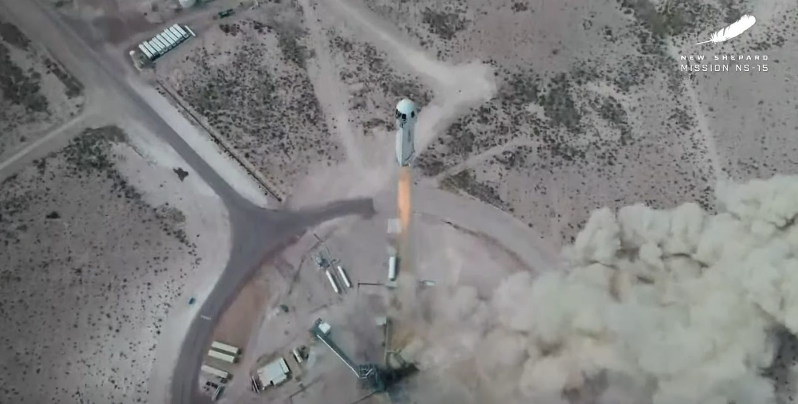 """New Shepard Mission NS-15 launches onto a suborbital trajectory with its crew capsule """"RSS First Step"""" riding atop. Aboard was just a test dummy named """"Mannequin Skywalker"""" as well as more than 25,000 postcards from the Club for the Future nonprofit organization. Credit: Blue Origin"""