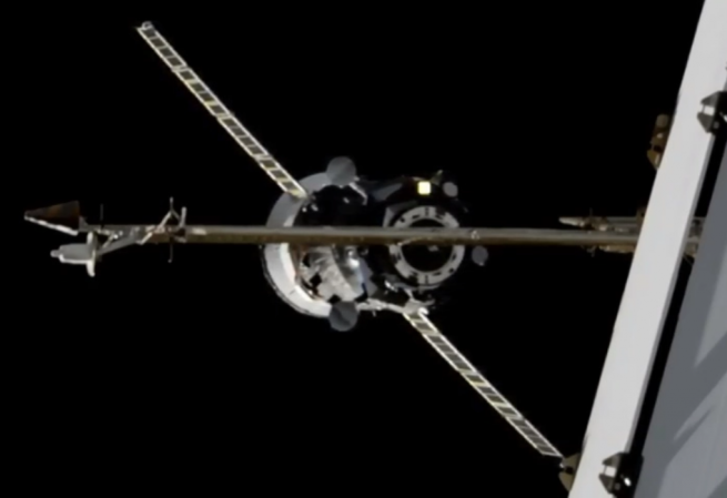 A view of Progress MS-14 arriving at the ISS in April 2020. Credit: NASA