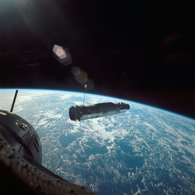 The Gemini 10 mission, with John Young and Michael Collins, approaches the Agena Target Docking Vehicle on July 19, 1966. Credit: NASA
