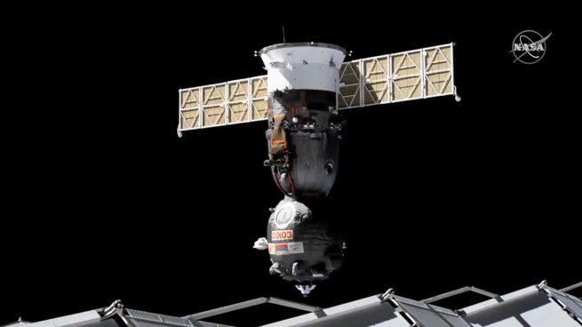 Soyuz MS-17 undocks from the International Space Station's Poisk module. Credit: NASA
