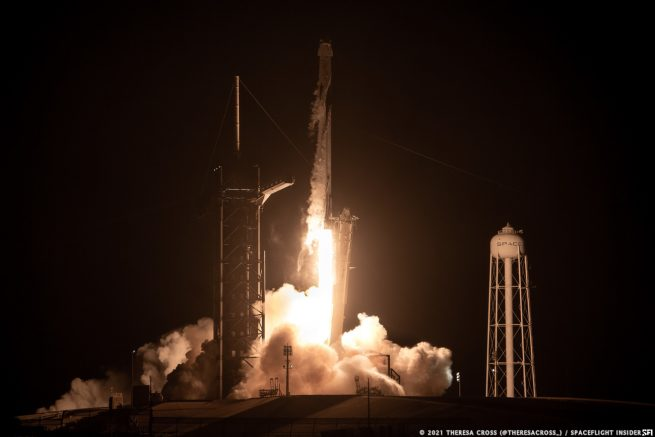 SpaceX's Falcon 9 rocket launches the Crew-2 Dragon spacecraft with four astronauts bound for the International Space Station. Credit: Theresa Cross / Spaceflight Insider