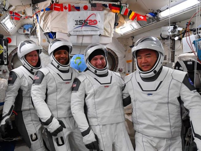 The Crew-1 astronauts check to ensure their suits fit properly in the days before the port relocation. From left to right: NASA's Shannon Walker, Victor Glover and Mike Hopkins and Japan's Soichi Noguchi. Credit: NASA