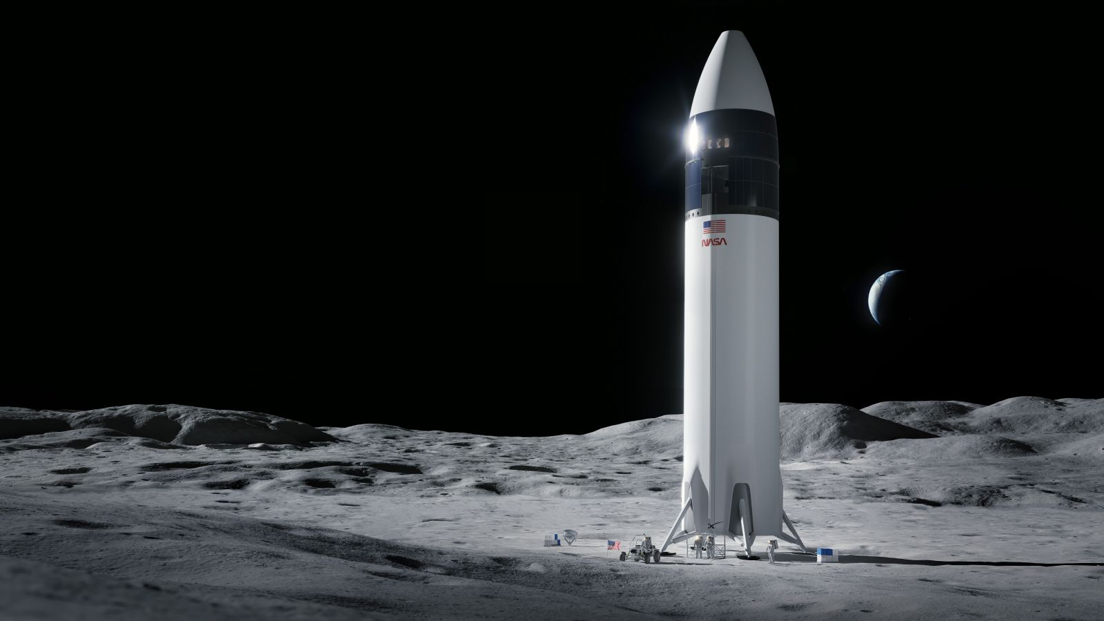 A rendering of SpaceX's Lunar Starship Human Landing System. Credit: SpaceX