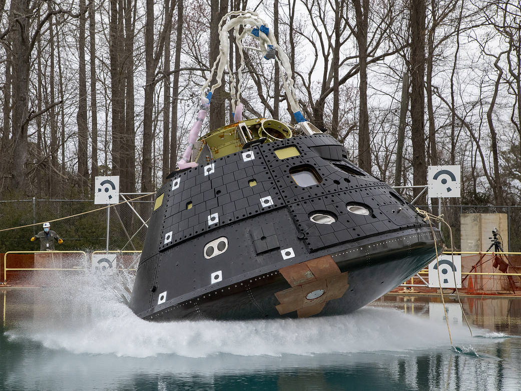 The first drop test for the latest Orion capsule model took place March 23, 2021. Testing was done from the height of 18 inches in splash impact basin at NASA Langley. Credit: NASA