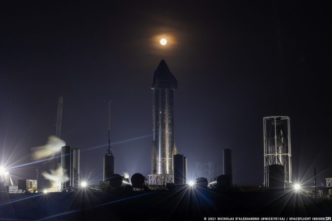 The April 2021 super Moon rises over Starship SN15 and the max-q nosecone testing structure at SpaceX's South Texas rocket facility. Credit: Nicholas D'Alessandro / Spaceflight Insider