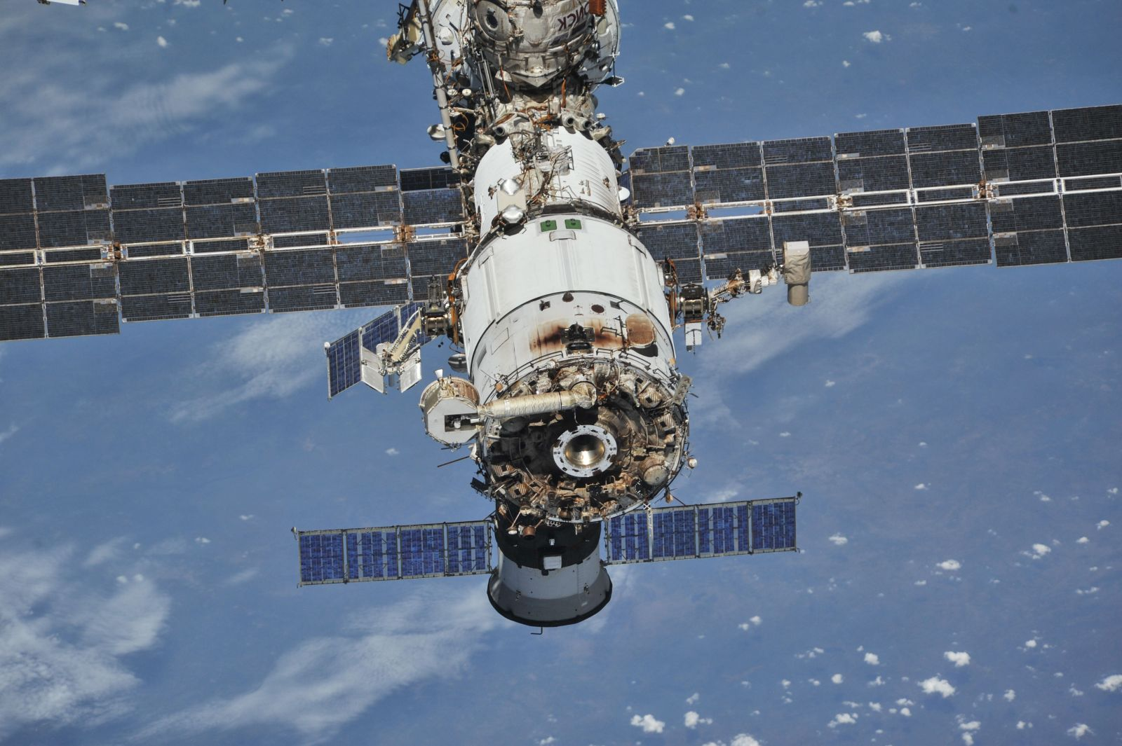 The rear section of the 20-year-old Zvezda service module is the location of a slight air leak aboard the International Space Station. Credit: Roscosmos