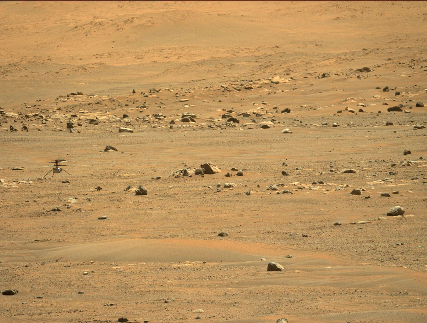 Ingenuity as seen by the Perseverance rover's Mastcam-Z imager following the helicopter's fifth flight. Credit: NASA/JPL-Caltech