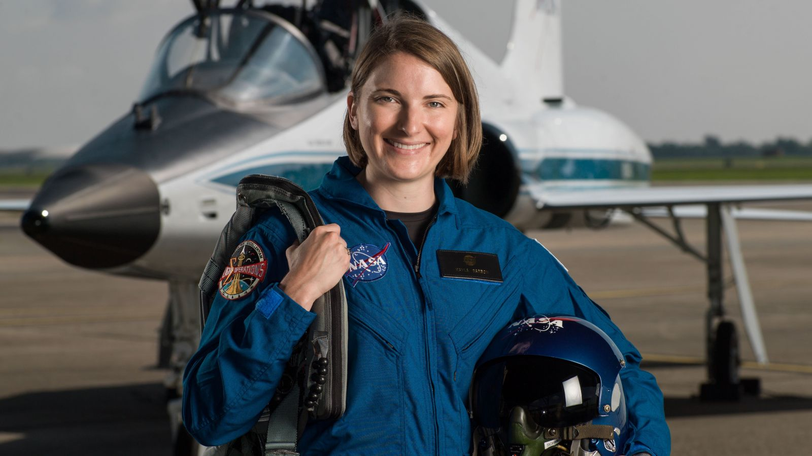 A photo of Kayla Barron when she was an astronaut candidate in 2017. Credit: NASA