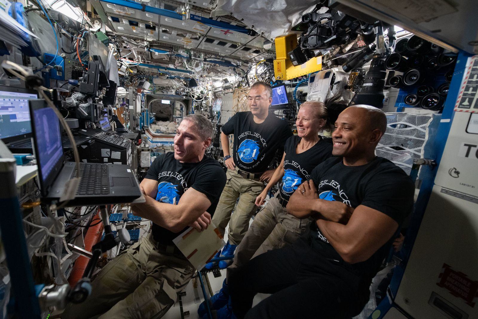 The Crew Dragon Resilience crew participate in a video conference in February 2021 with former NASA astronaut Edward Gibson, who was one of the three Skylab-4 astronauts. From left to right: Mike Hopkins, Soichi Noguchi, Shannon Walker and Victor Glover. Credit: NASA