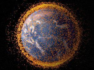 A 2013 computer generated image representation of orbital space debris. Credit: NASA Goddard Space Flight Center