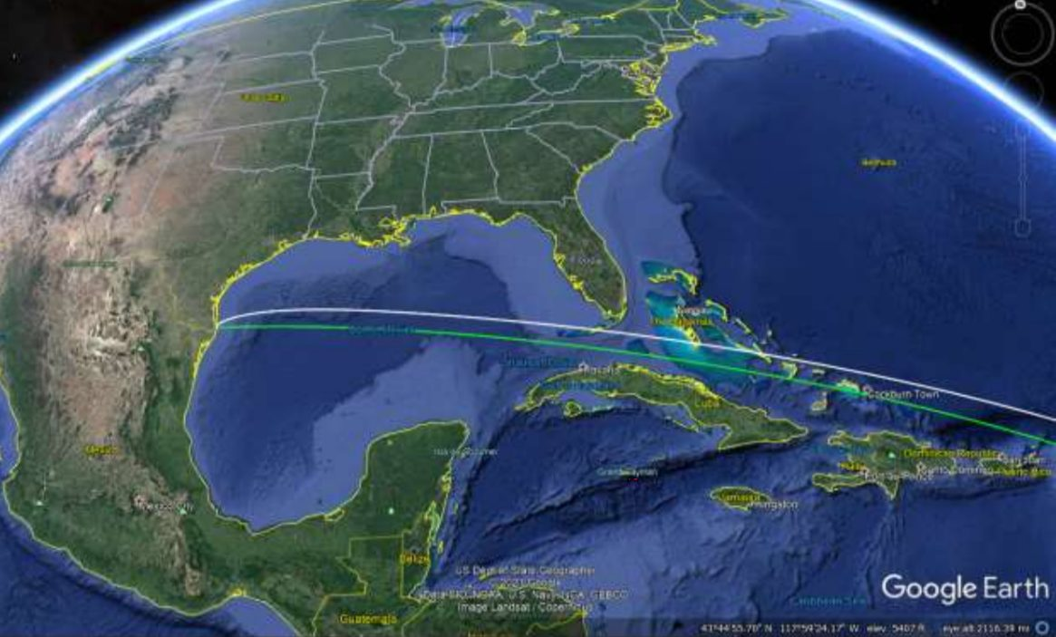 The flight path of the Starship upper stage as it threads its way between Florida and Cuba on its way toward orbit. Credit: SpaceX/FCC