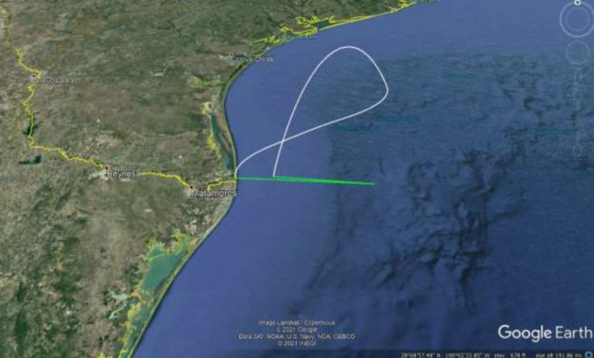 The flight path for the Super Heavy booster. Credit: SpaceX/FCC