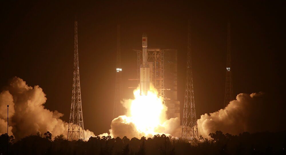 Tianzhou-2 launches into space atop a Long March 7 rocket. Credit: CASC