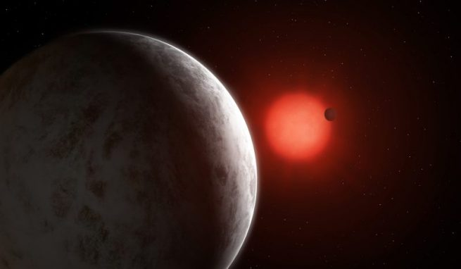 Artist's depiction of two super-Earths, Gliese 887b and Gliese 887c, exoplanets orbiting a red dwarf star. Credit: Mark Garlick/ University of Göttingen