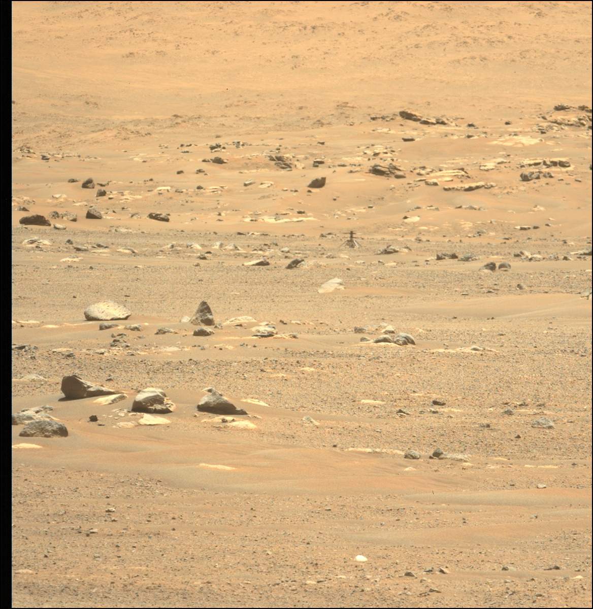 A view of the Ingenuity Helicopter as seen from the Perseverance rover the day after its sixth flight using its Mastcam-Z instrument. Credit: NASA/JPL-Caltech