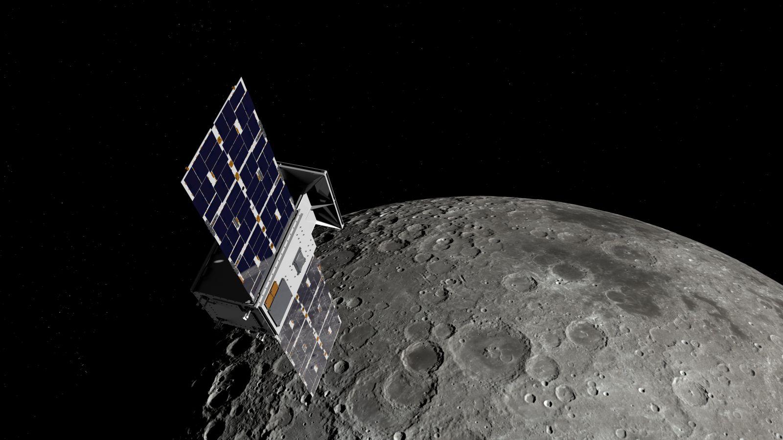 An illustration of NASA's CAPSTONE mission orbiting near the Moon. Credit: NASA