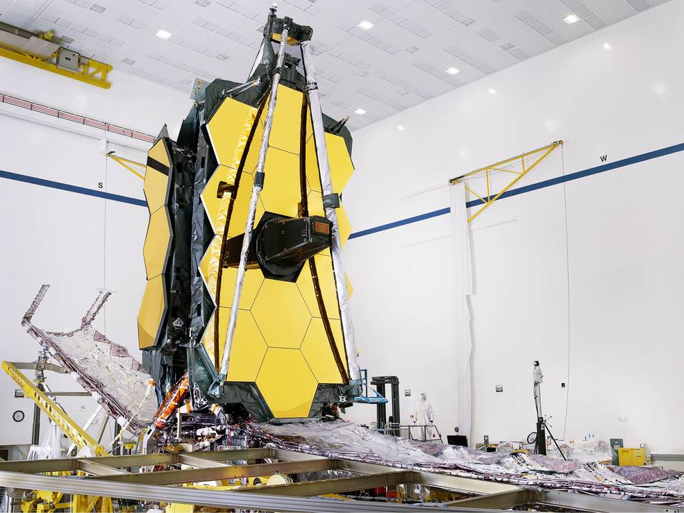 Fully assembled JWST and its sunshield. One of the goals of the observatory is to make detailed studies of the atmospheres of potentially habitable exoplanets. Credit: NASA/Chris Gunn