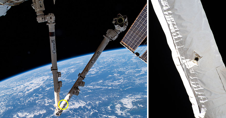 During a routine inspection, it was discovered that the space station's robotic arm -- Canadarm2 -- was struck by a piece of space debris. Credit: NASA/CSA