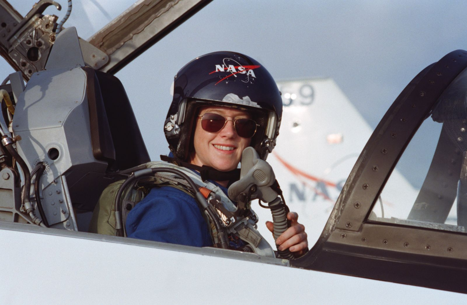 Pam Melroy sits in the forward station of a T-38 jet trainer in 2000 before joining other astronauts to train for her STS-92 mission to the International Space Station. Credit: NASA