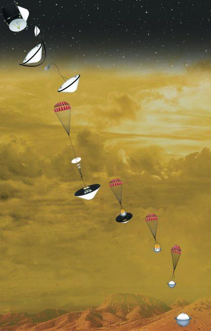 A graphic showing the DAVINCI+ mission's descent milestones as it enters Venus' atmosphere. Credit: NASA