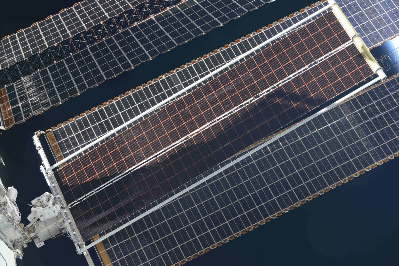 The first new roll-out solar array, also called iROSA, was deployed to its full length aboard the International Space Station on June 20, 2021. Credit: NASA