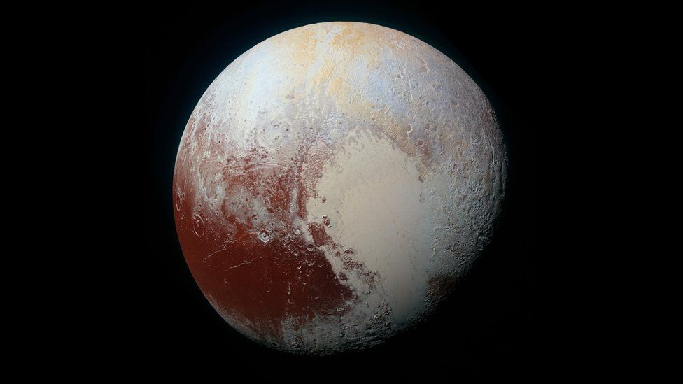 The left half of the heart-shaped feature the surface of Pluto is a glacier known as Sputnik Planitia. Credit: NASA/JHUAPL/SwRI