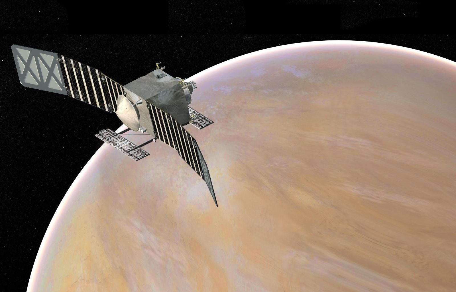 An illustration of the VERITAS orbiter, which was one of two missions selected to study Venus at the end of the 2020s under NASA's Discovery Program. Credit: NASA