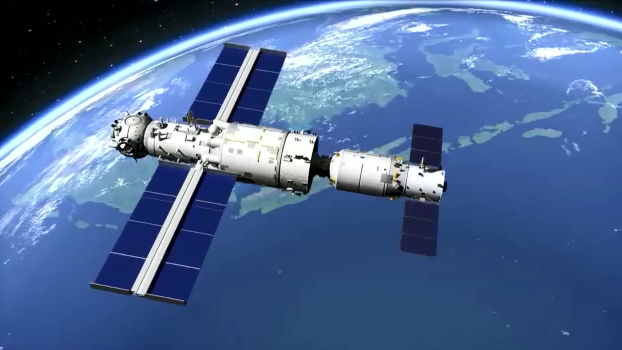 A rendering of the Tianhe core module and the Tianzhou-2 cargo ship docked. Shenzhou-12 arrived at the outpost about 6.5 hours after launch. Credit: CNSA