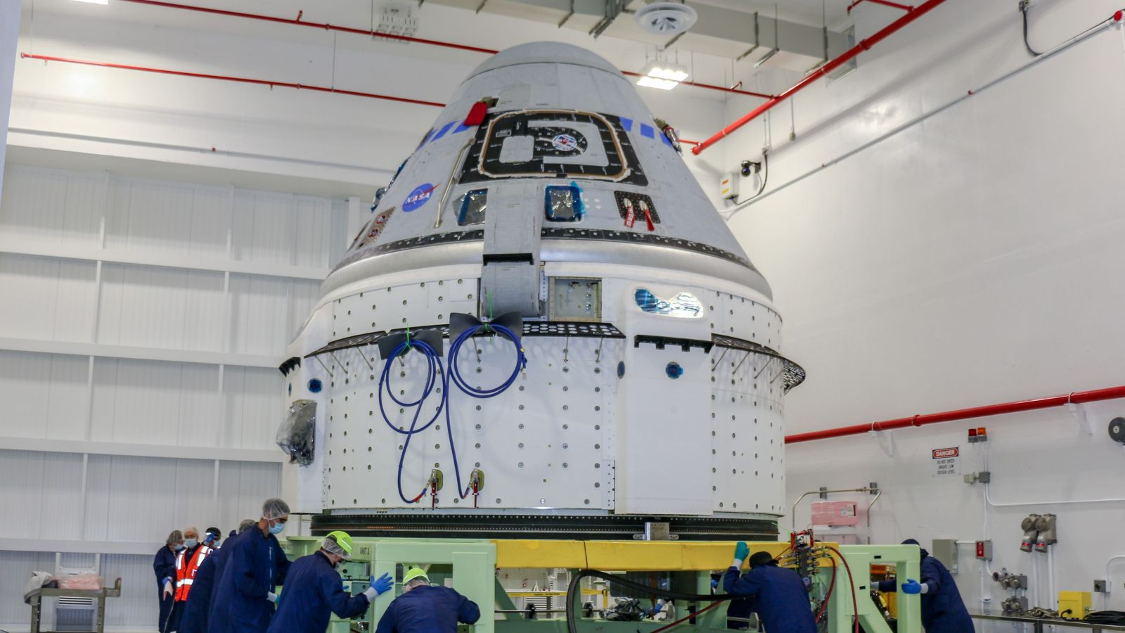 Boeing's CST-100 Starliner spacecraft that will be used for the OFT-2 Starliner mission is seen June 2, 2021, in the Commercial Crew and Cargo Processing Facility at NASA's Kennedy Space Center in Florida. Credit: Boeing