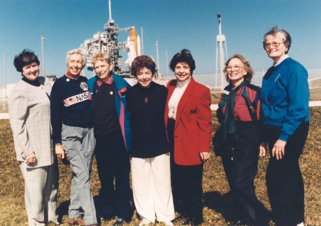 """Seven of the """"Mercury 13"""" who participated in the Woman in Space program pose in front of the space shuttle Discovery in 1995. They were guests of STS-63 Pilot Eileen Collins, the first female shuttle pilot and later first female shuttle commander. From left to right: Gene Nora Jessen, Wally Funk, Jerrie Cobb, Jerri Truhill, Sarah Rutley, Myrtle Cagle and Bernice Steadman. Credit: NASA"""